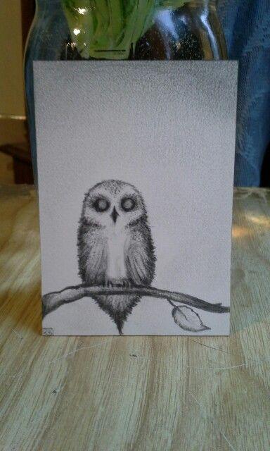 "Wee lil' birdie pencil sketch 2.5""x 3.5"" Illustration Board Artist Trading Card"