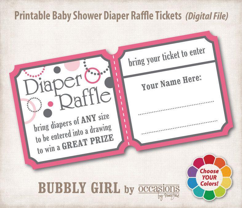 Baby Shower Diaper Raffle Tickets, Digital File, Bubbly Girl. $6.00, Via  Etsy.