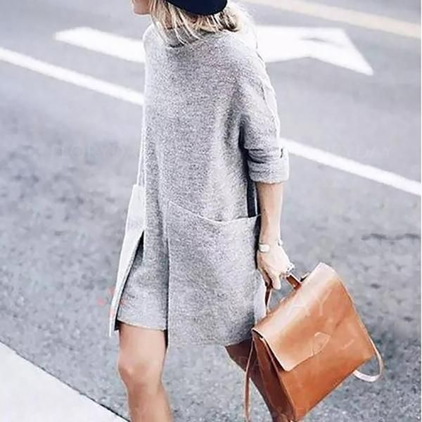 High Collar Pullover Long Knit Shirts