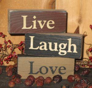 LIVE*LAUGH*LOVE  mustard stars wood sign  primitive
