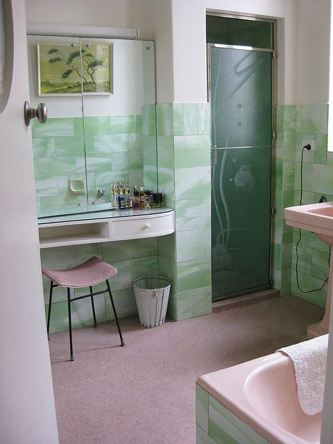 Modern 1950s Bathroom And Vintage On Pinterest: 1950s Art Moderne Pink And Gray