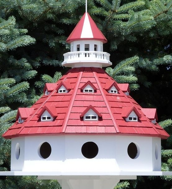 Circular Birdhouse Round Birdhouse With Red Roof By