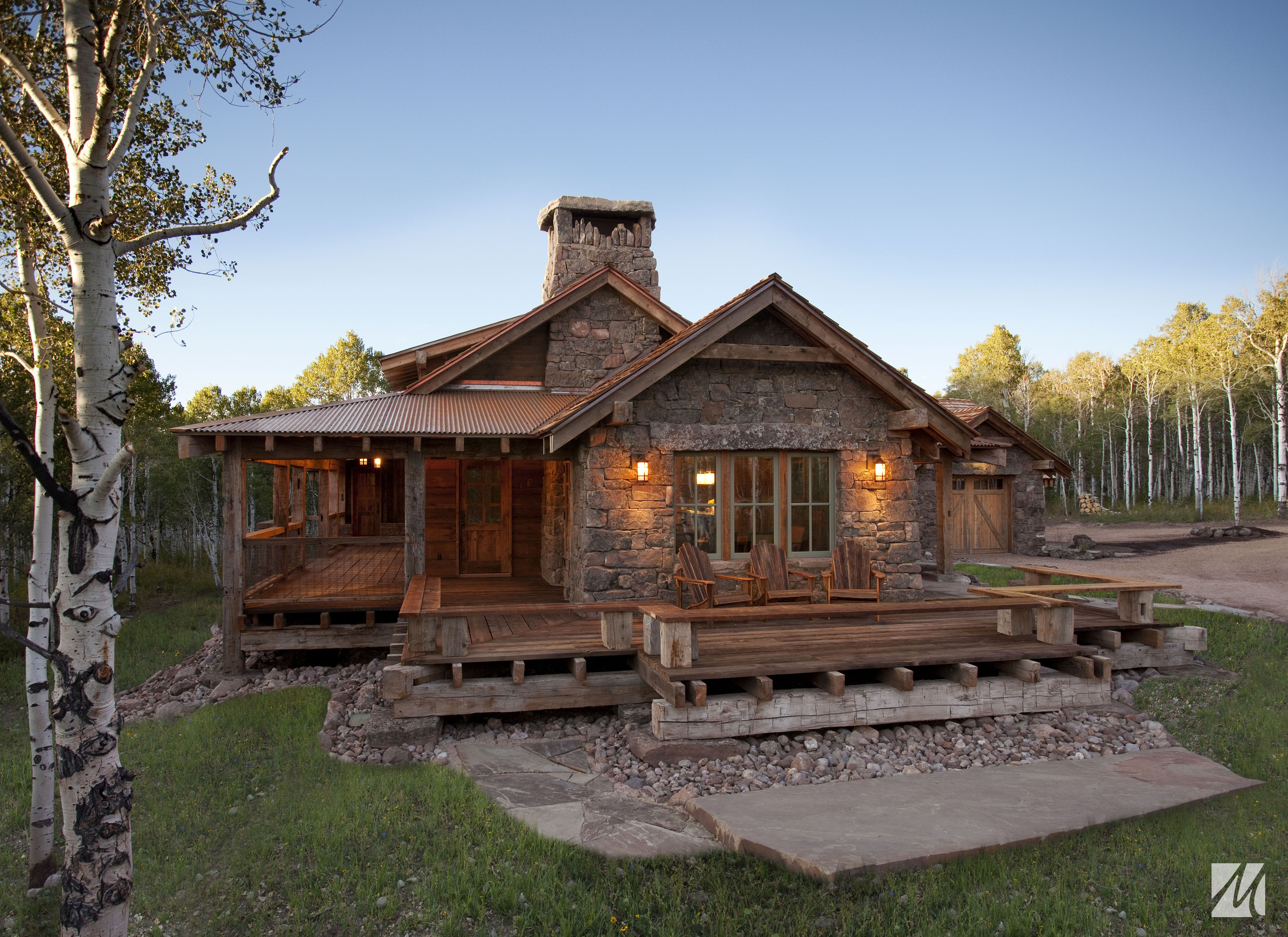 Small Cabin Home Plan With Open Living Floor Plan Stone House Plans Rustic House Plans Rustic Cabin Design