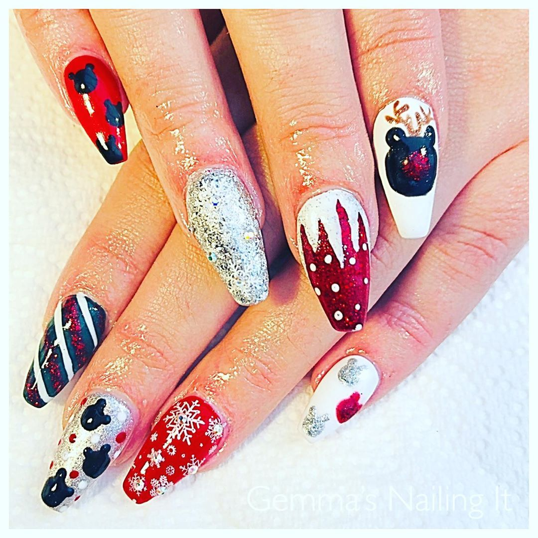 Festive Christmas Nail Art Ideas New Year Colorful Quotes