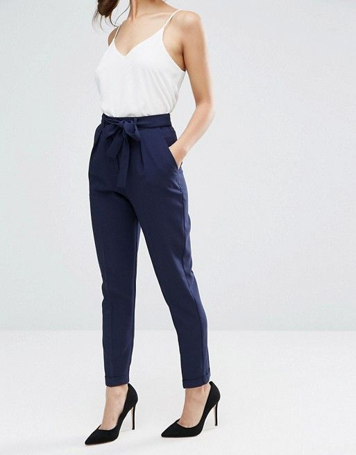 564ddbb964 Navy bow tie pegged trousers. Business casual pants for women ...