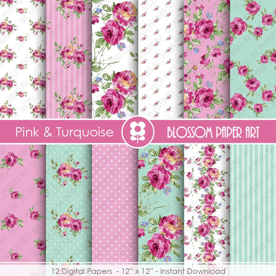 floral paper pink blue - Google Search