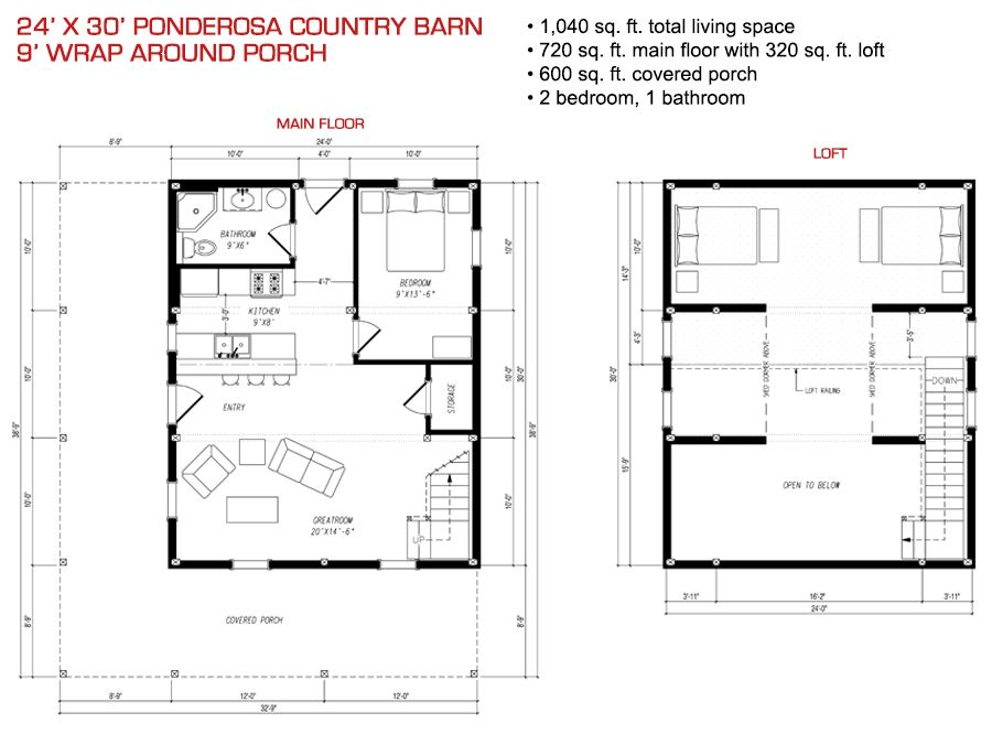 24x30 floor plan pre designed ponderosa barn home kit for 24x36 2 story house plans