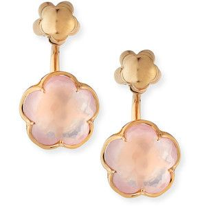 Pasquale Bruni Bon Ton Pink Quartz Flower Jacket Earrings in 18K Rose Gold HPW3g35k