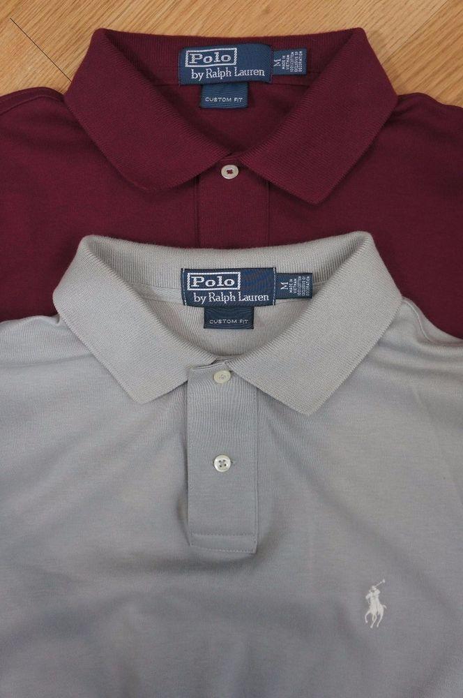 Ralph Lauren Polo Lot 2 Custom Fit Short Sleeve Shirts Burgundy Gray Medium   PoloRalphLauren  PoloRugby 5451fde52a682