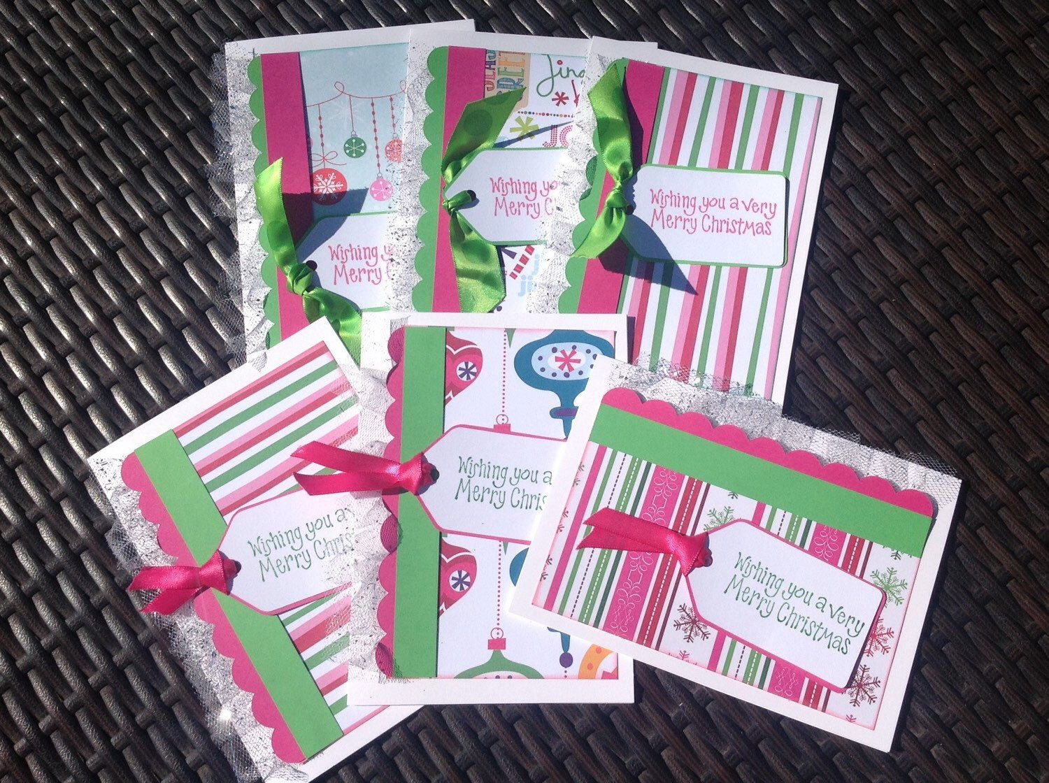 A personal favorite from my Etsy shop https://www.etsy.com/listing/244447408/cute-handmade-christmas-cards-pink-green