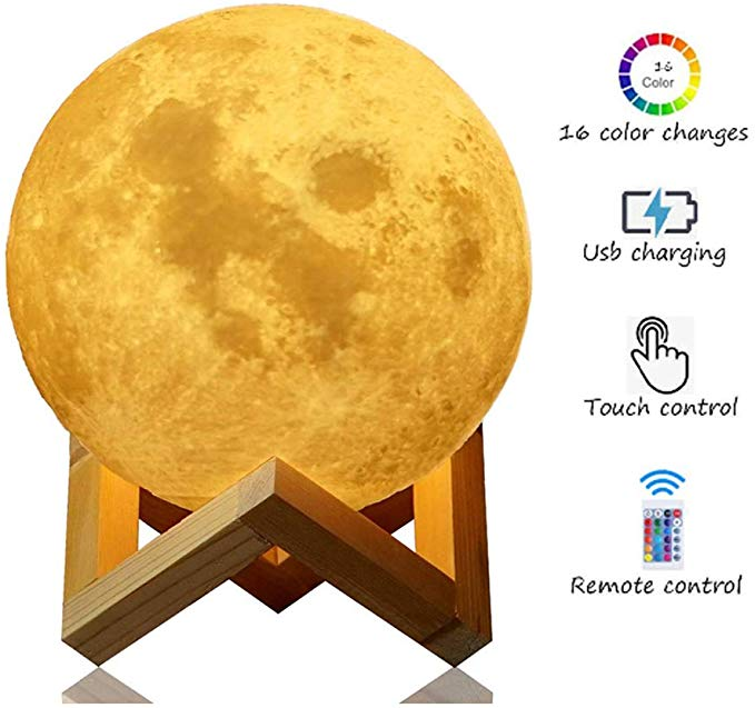 Amazon Com Aogvna 3d Moon Lamp Moon Night Light With Stand Remote Touch Control And Usb Rechargeable 16 Led Colors Moon Ligh In 2020 Led Color Night Light Remote