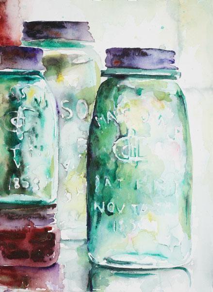 Mason Jar Watercolor Watercolor Paintings Mason Jars