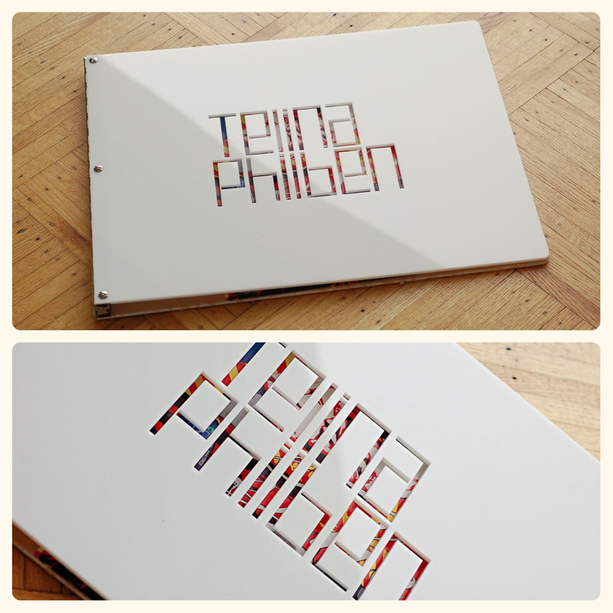 custom oversized white acrylic portfolio book engraving interior design portfolio design google search