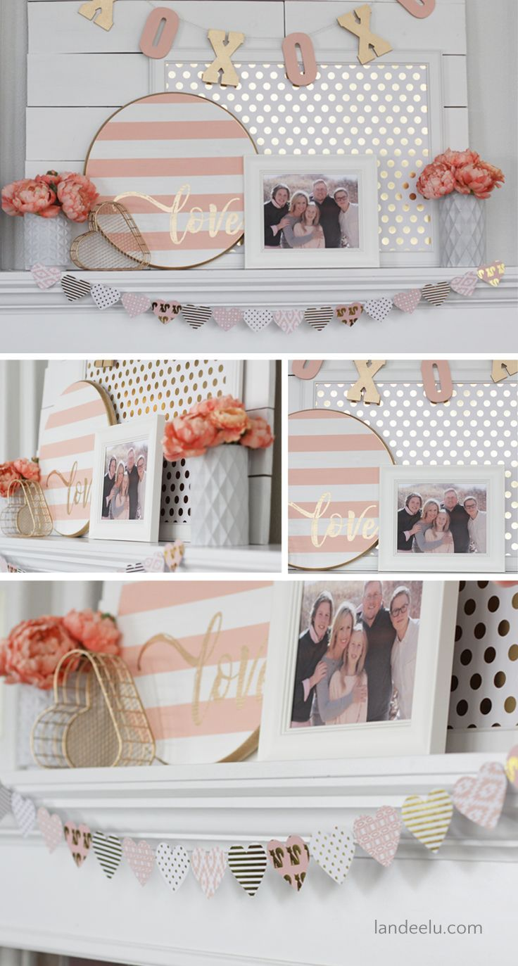Valentine\'s Day Decor: Pink and Gold Mantel | Mantel ideas, Mantels ...
