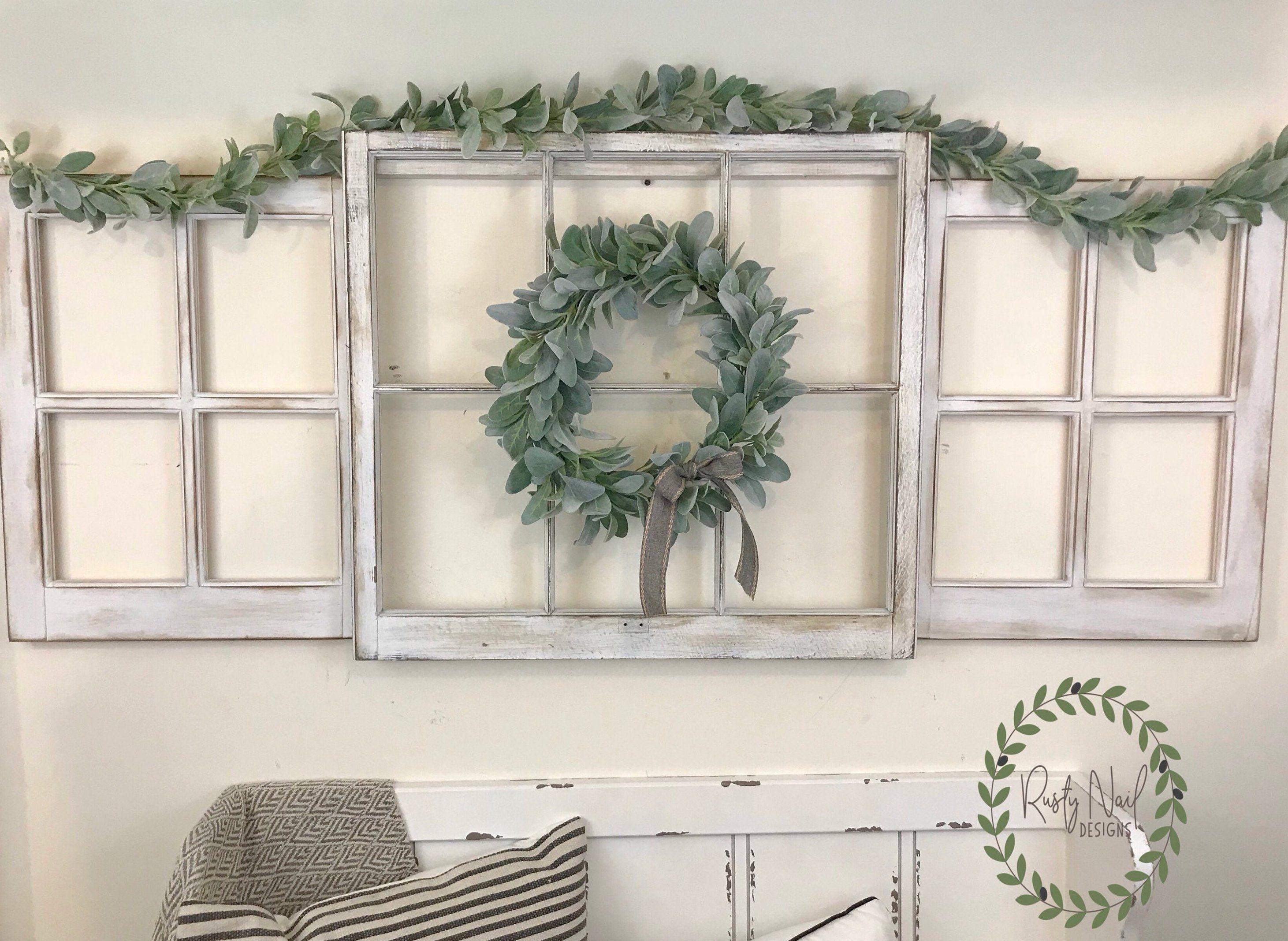 Window pane decor window frame lambus ear wreath farmhouse decor vintage window