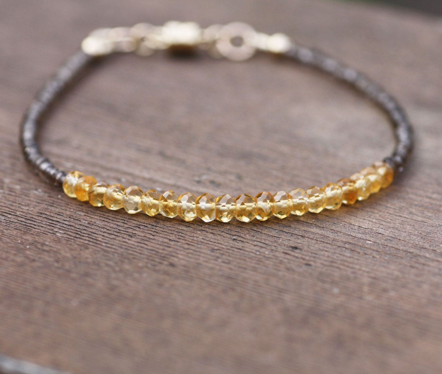 14K Solid Gold Necklace with Briolette Citrine