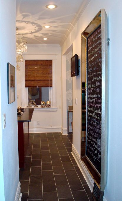16x16 black slate tiles cut in half and laid in a brick for 16x16 kitchen designs