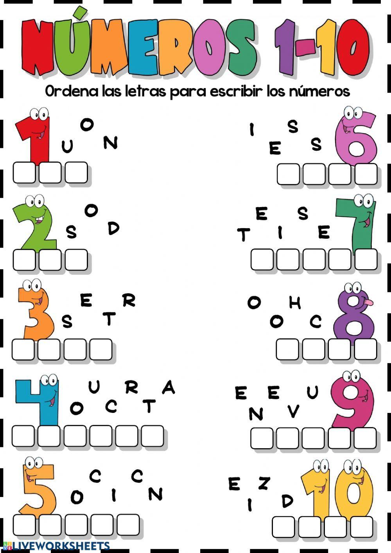 Los números del 1 al 10 (ordenar las letras) - Interactive worksheet |  Actividades de lectura preescolar, Actividades de letras, Actividades de  inglés para niños