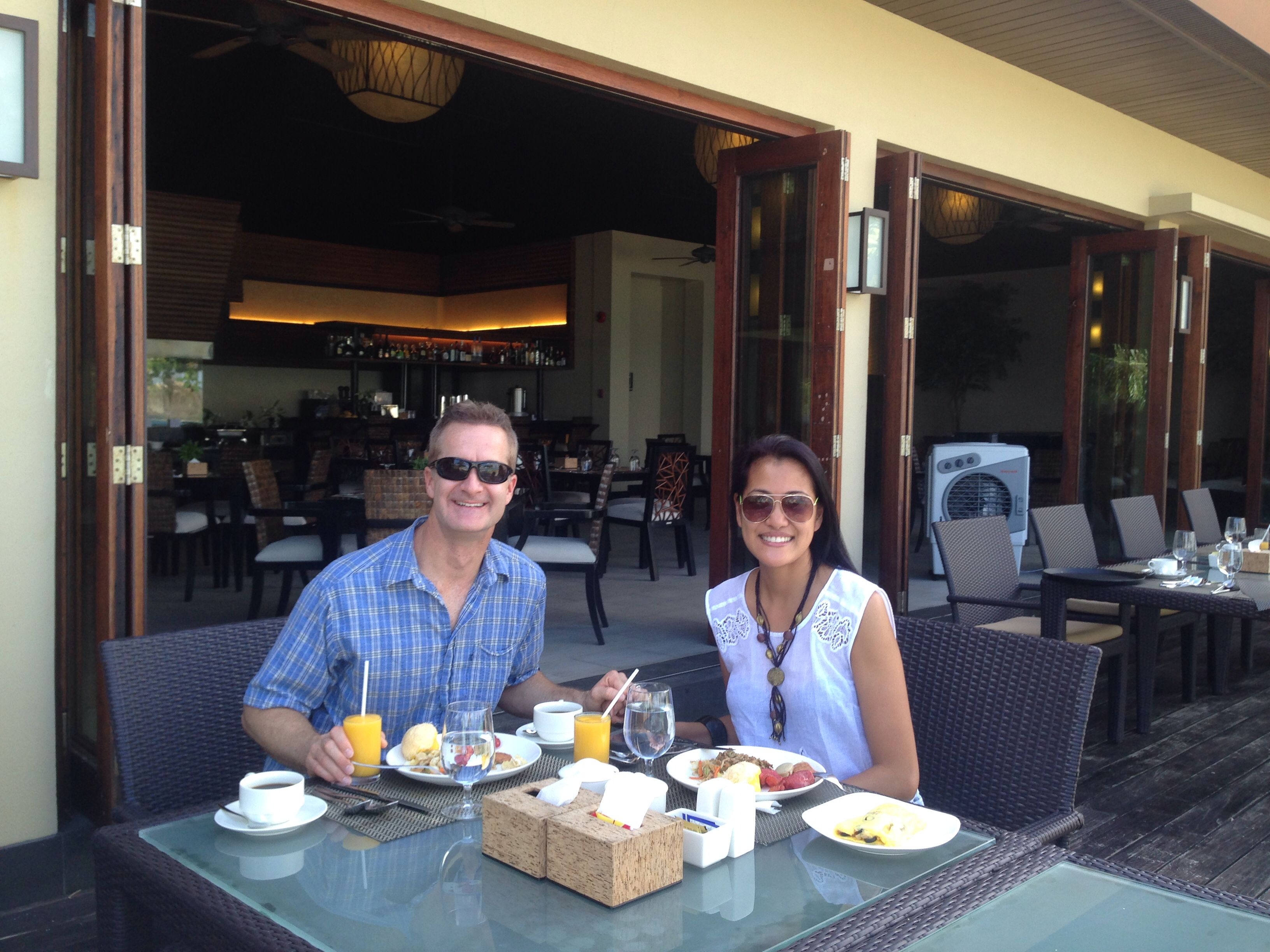 Breakfast at Sulu Restaurant. Unlimited Mango shakes (unless they run out of fresh mangoes). Yum!