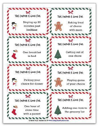 Christmas Coupons for Kids - Free Printable!   Christmas ...