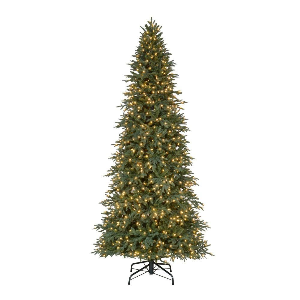 10 Ft Pre Lit Led Meadow Quick Set Artificial Christmas Tree With