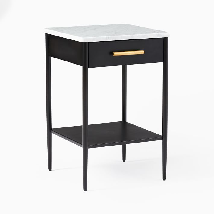 Metalwork Nightstand With Marble Top Hot Rolled Steel Finish In 2020 Nightstand Storage Marble Top Nightstand