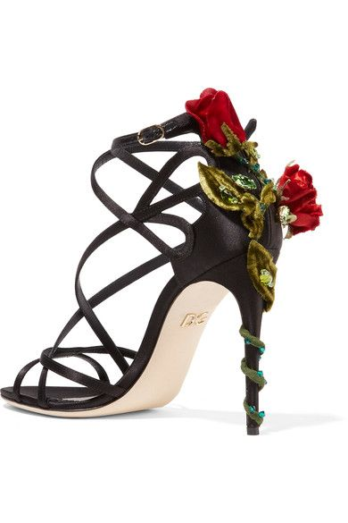 Outlet Fashion Style Buy Cheap How Much Velvet And Crystal-embellished Satin Sandals - Black Dolce & Gabbana AyvsXA62