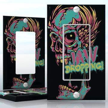 Diy do it yourself home decor easy to apply wall plate wraps do it yourself home decor diy jaw dropping zombie with horns 1 gang toggle lightswitch decal skin wrap sticker skulls horror solutioingenieria Choice Image