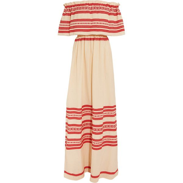 fed49337764b Celia Dragouni Off-the-shoulder embroidered cotton maxi dress (4.515 ARS) ❤