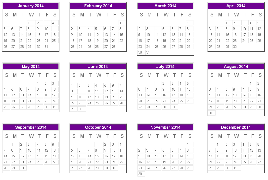 2014 Calendar Printable | Here Is A Printable Edition Of The Calendar Year  2014.