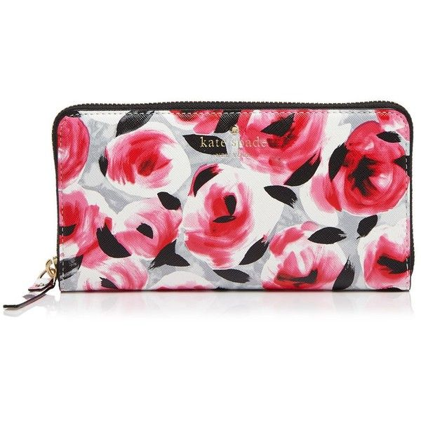 kate spade new york Cedar Street Rose Lacey Wallet ($134) ❤ liked on Polyvore featuring bags, wallets, posy red multi, red bag, floral wallet, rose bag, kate spade wallet and kate spade bags