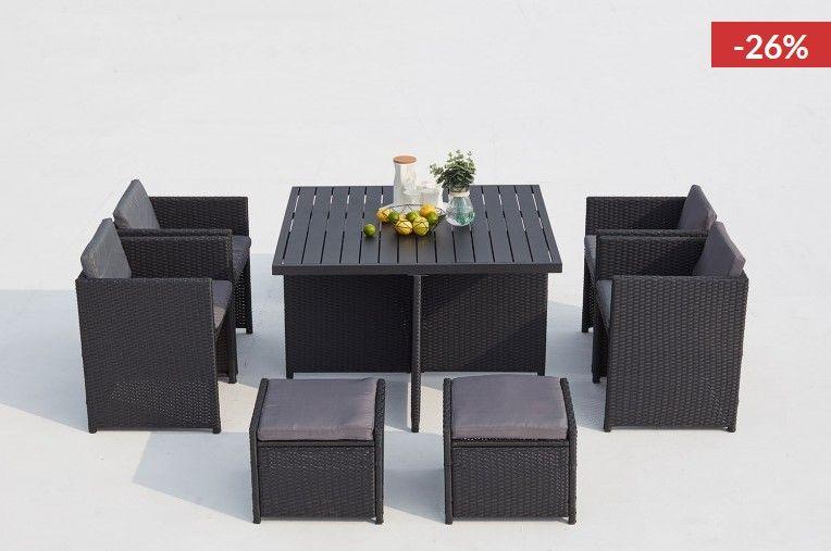 Salon de jardin encastrable Sunset 8 noir/gris résine ...