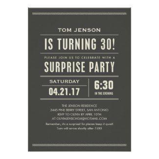 Custom 30th Birthday Invitations For Men