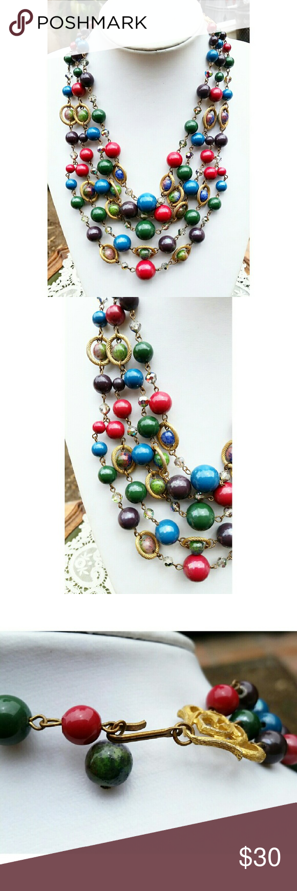 Vtg Art Deco Victorian Multistrand Beaded Necklace Beatific necklace in excellent vintage condition! Very colorful and vibrant, yet very Victorian. Has lucite beads, glass crystals, and gold tone metal. Has a hook and eye clasp closure. Stunning! Vintage Jewelry Necklaces