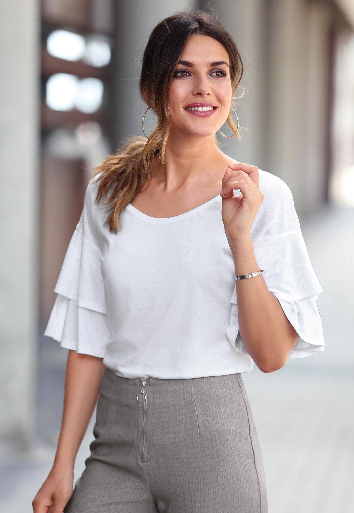 a3cab30c219 Tee-shirt manches 3 4 avec double volant femme Exclusivité 3SUISSES - Blanc