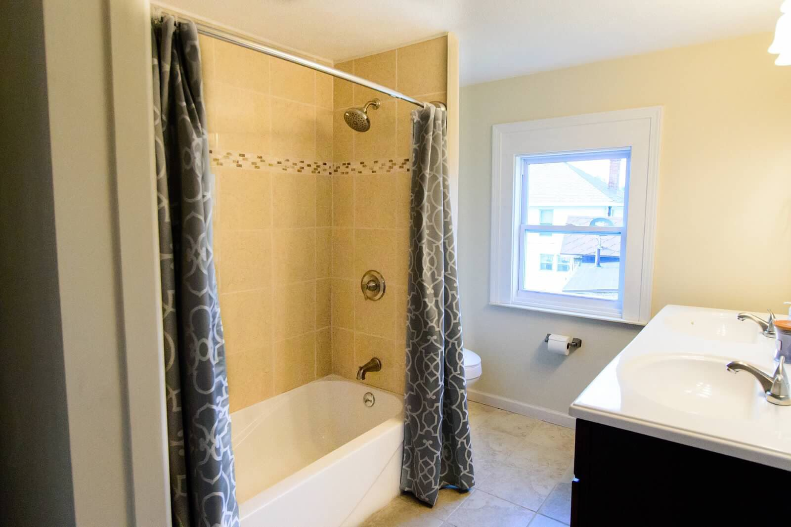 Master bath with custom tile shower. Allen + Roth vanities from ...
