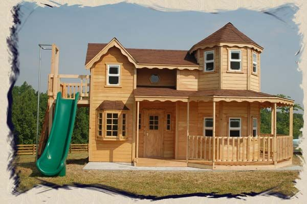 Build your own queen anne victorian 2 story playhouse for Custom built victorian homes