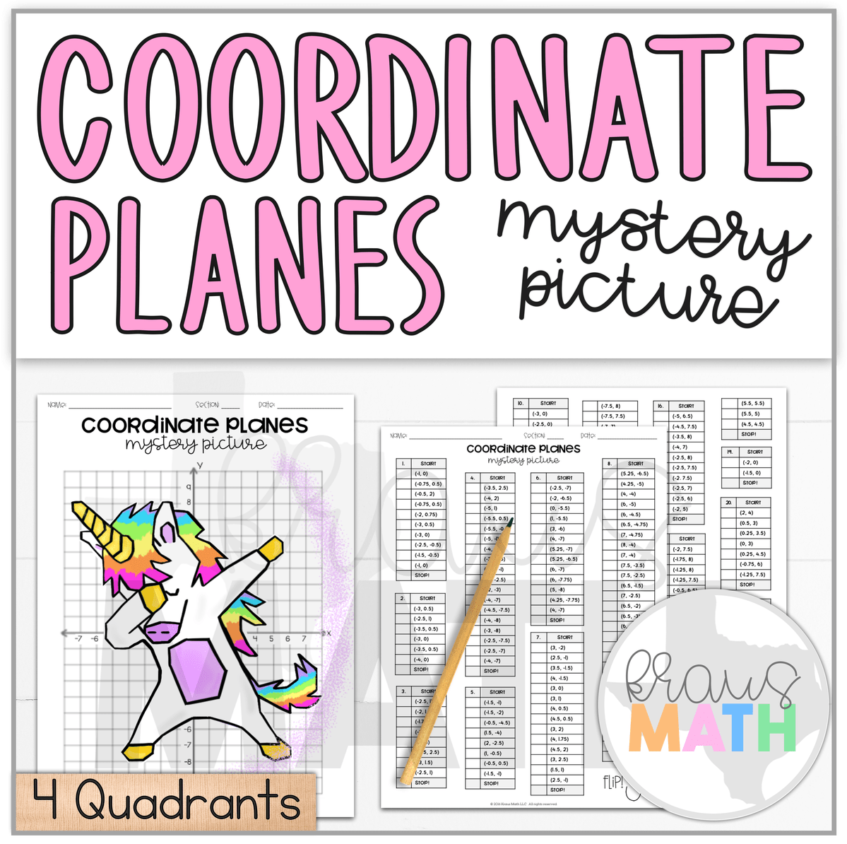 Unicorn Dab Coordinate Plane Mystery Picture 4 Quadrants