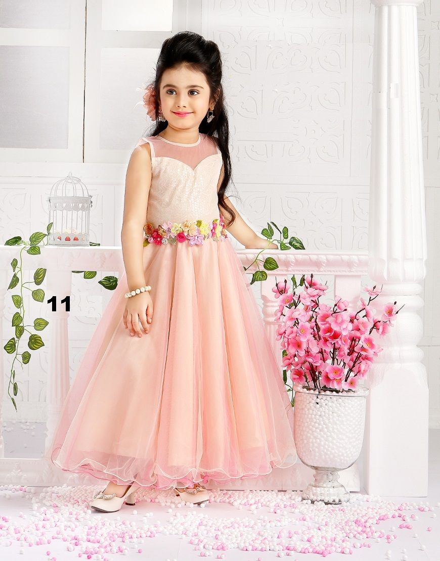 d5daadddaa4 Multi Flower Designer Kids Wear Gown..