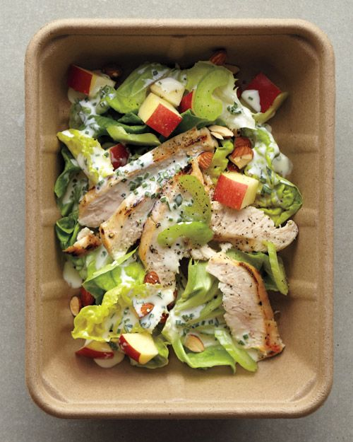 Waldorf Salad  ingredients  2 cups bibb lettuce  1/2 apple, diced  2 tablespoons sliced celery  3 ounces grilled chicken breast, sliced  2 tablespoons toasted whole almonds, chopped  1 tablespoon Creamy Buttermilk Dressing