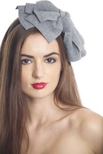 Jumbo Bow Headband Grey