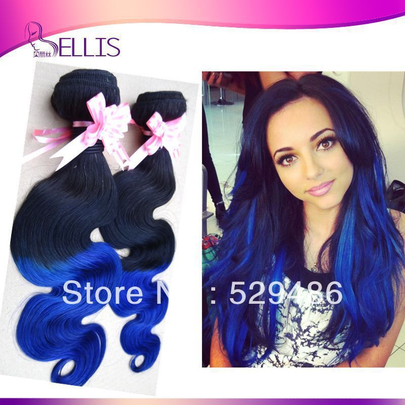 Highlight Brazilian Blue Ombre Hair Weave Body Wave Two Tone Color