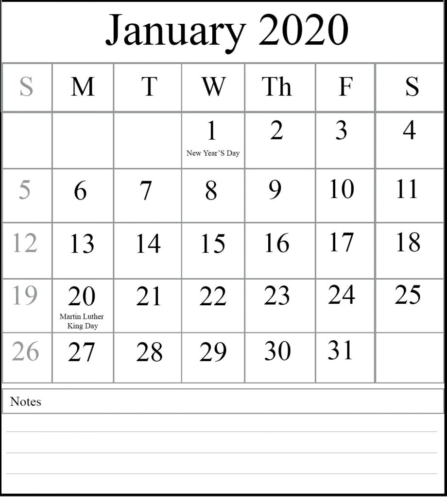 Holidays Of January 2020 Editable Calendar Printable Calendar Template January Calendar Calendar Printables