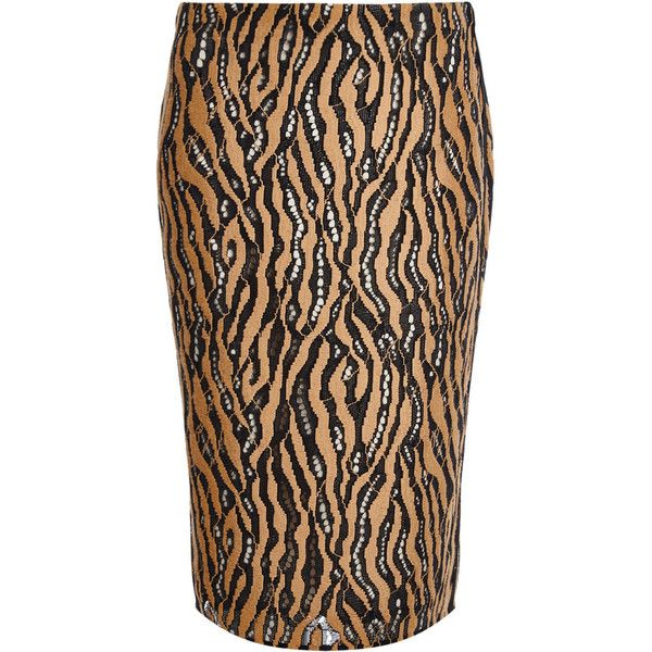 3.1 Phillip Lim Camel Tiger Print Pencil Skirt (£115) ❤ liked on Polyvore featuring skirts, beige skirt, lace skirt, asymmetrical hem skirt, camel pencil skirt and beige lace skirt