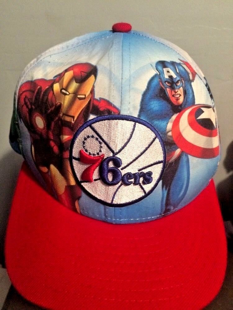 4e00bb99fb3 Rare NBA Philadelphia 76ers Super Heros Marvel Comics Baseball Cap Hat 7  1 4  NewEra  BaseballCap