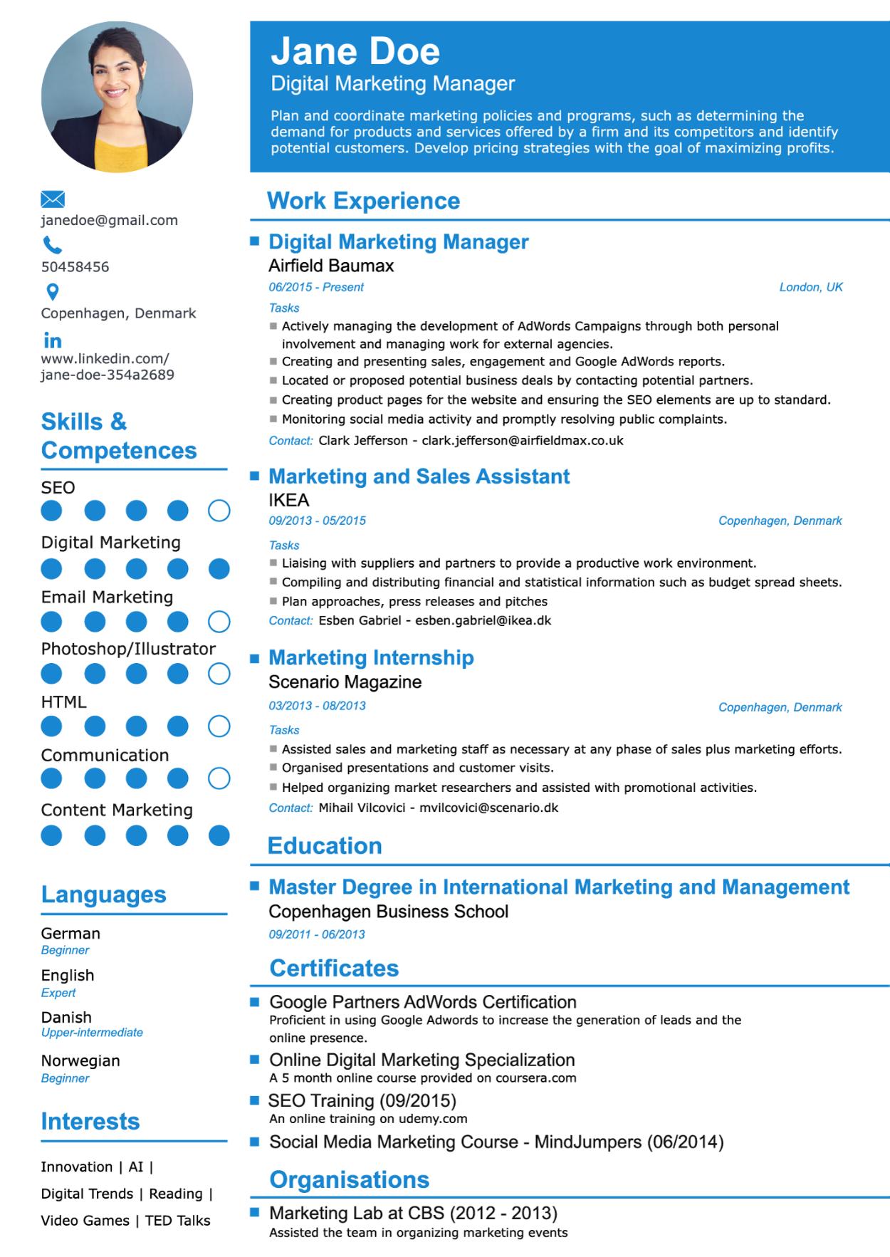 Resume Creator Online With Photo