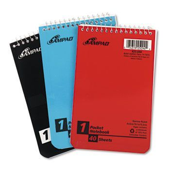 Wirebound Pocket Memo Book, Narrow, 4 X 6, White, 40 Sheets, 3 Pads/pack