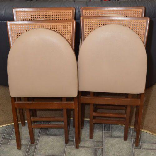 4 Vintage 1950 039 S Stakmore Cane Back Mid Century Folding