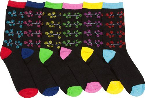 Sakkas Women`s Fun Colorful Design Poly Blend Crew Socks Assorted 6-Pack $11.99 (save $7.00) + Free Shipping