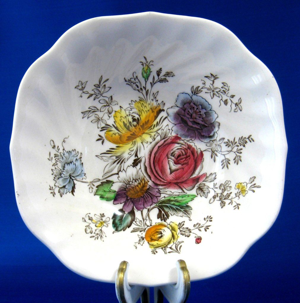 Square Cereal Bowl Sheraton Johnson Brothers 1940s Floral Transfer Hand Colored